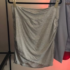 Athleta Grey ruched-side faux-wrap skirt